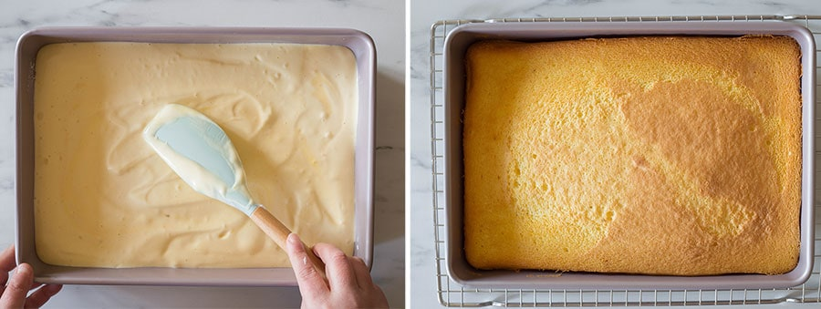 Placing batter into the baking pan. Cake just taken from the oven and placed on a cooling rack.