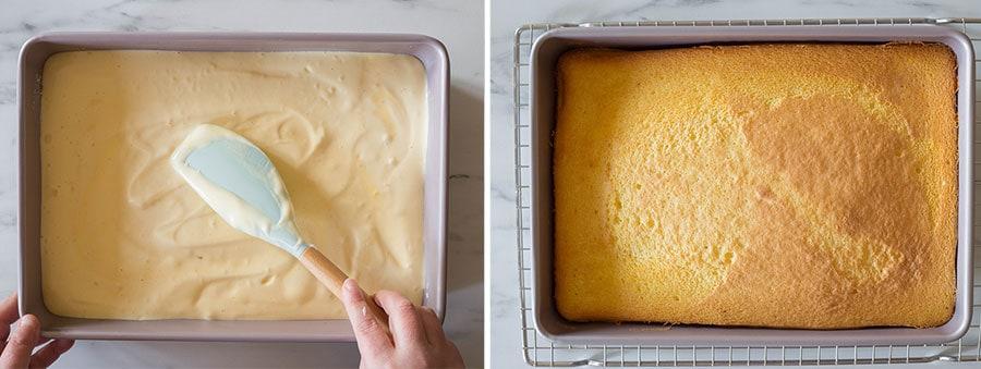 Mettendo l'impasto nella teglia e livellando. La torta già infornata.