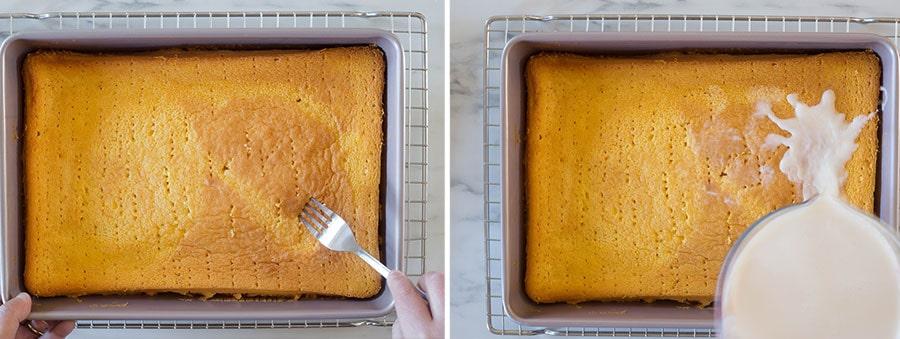 Aggiungendo la miscela sopra il pan di spagna.