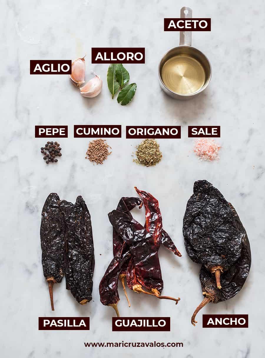 Ingredienti salsa adobo messicana.