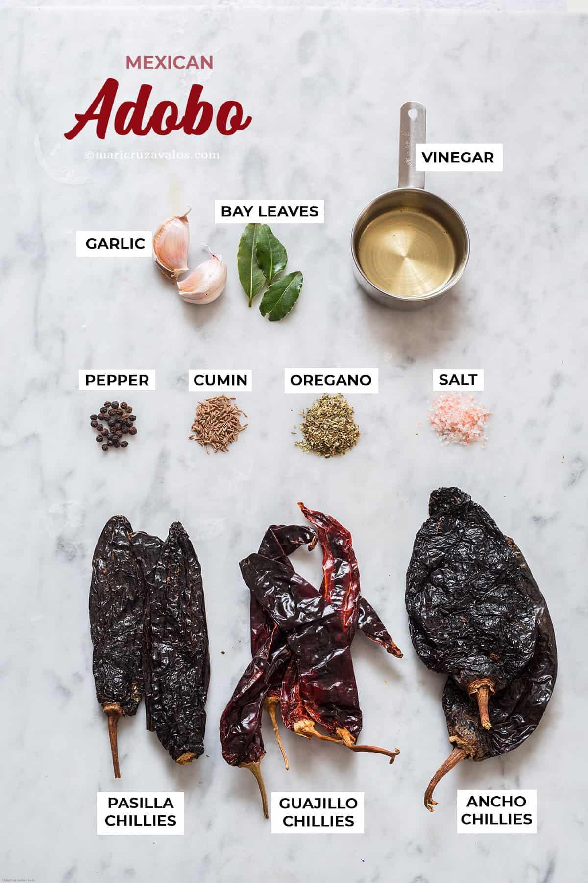 Ingredients for mexican adobo.
