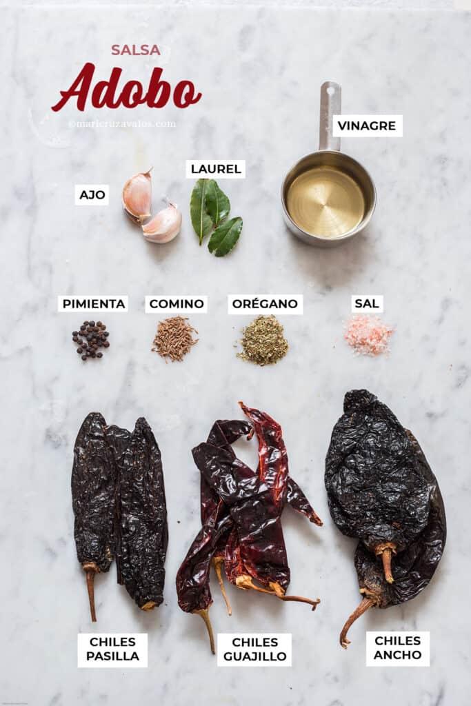 Ingredientes para salsa adobo.