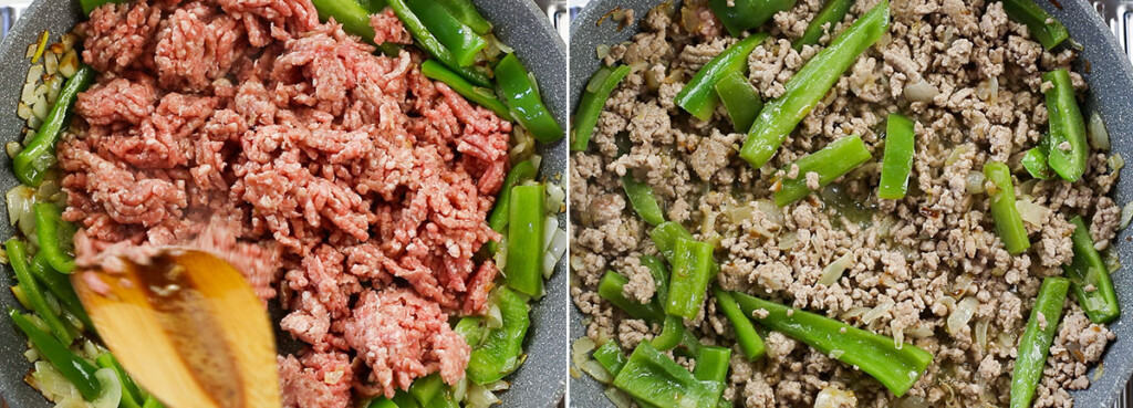 Cooking ground meat on the pan with onions and chilies.