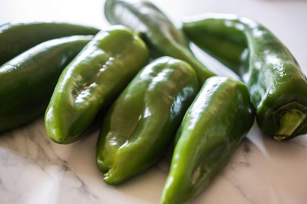 Green fresh chilies.