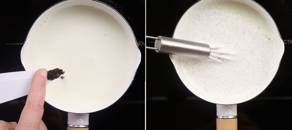Heating the milk and adding vanilla on a small saucepan.