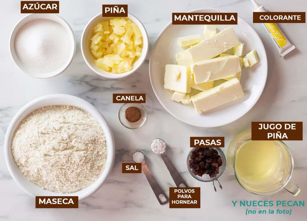Ingredientes para tamales de piña.