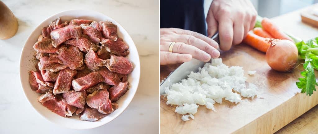 La carne salpimentada en un plato. Picando la cebolla en una tabla.