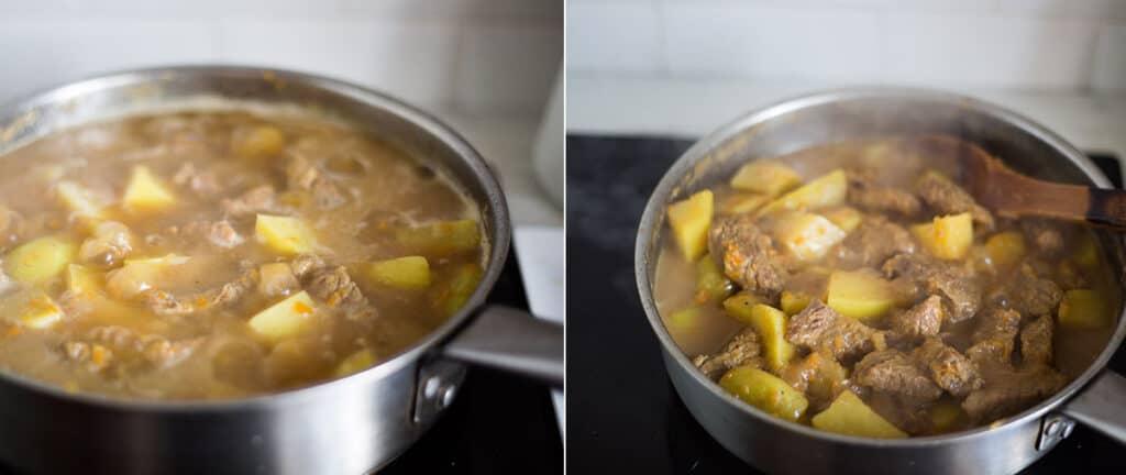 El estofado con las papas. Al final el estofado italiano listo con el jugo ya reducido y las papas cocidas.