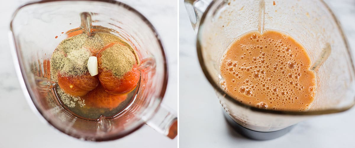 A collage with two photos with ingredients before and after blending tomato salsa.