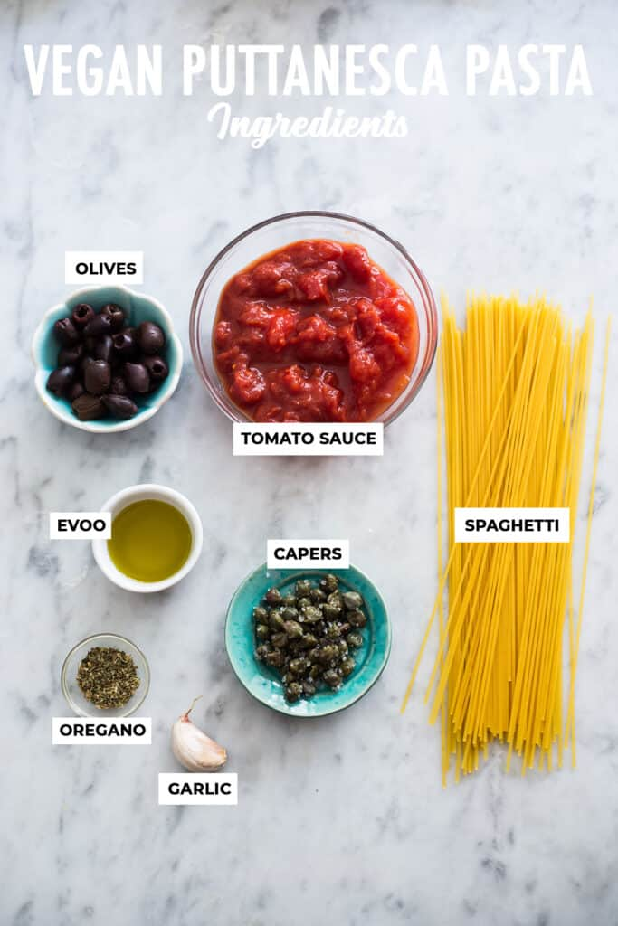Ingredients displayed for puttanesca sauce.