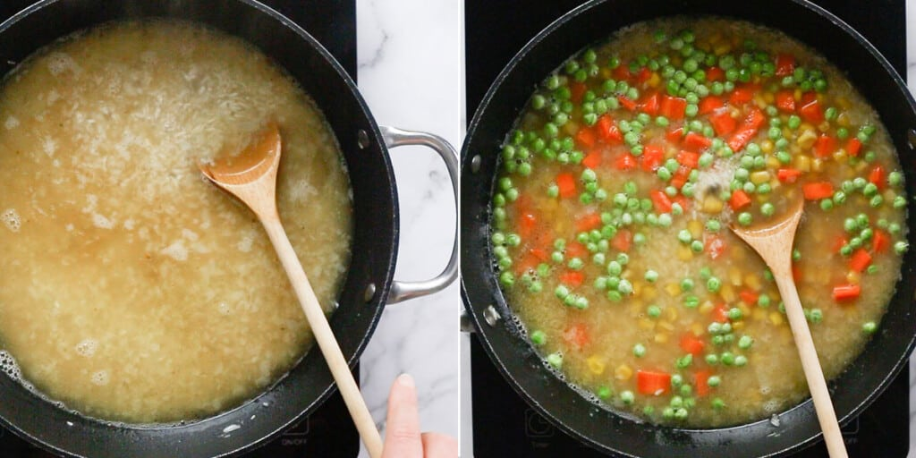 Adding stock and vegetables.