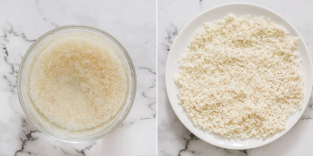 El arroz remojándose en un cuenco y luego puesto en un plato.