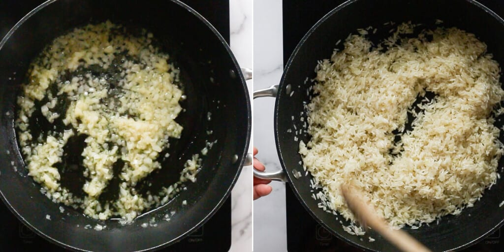 Frying onions and rice.