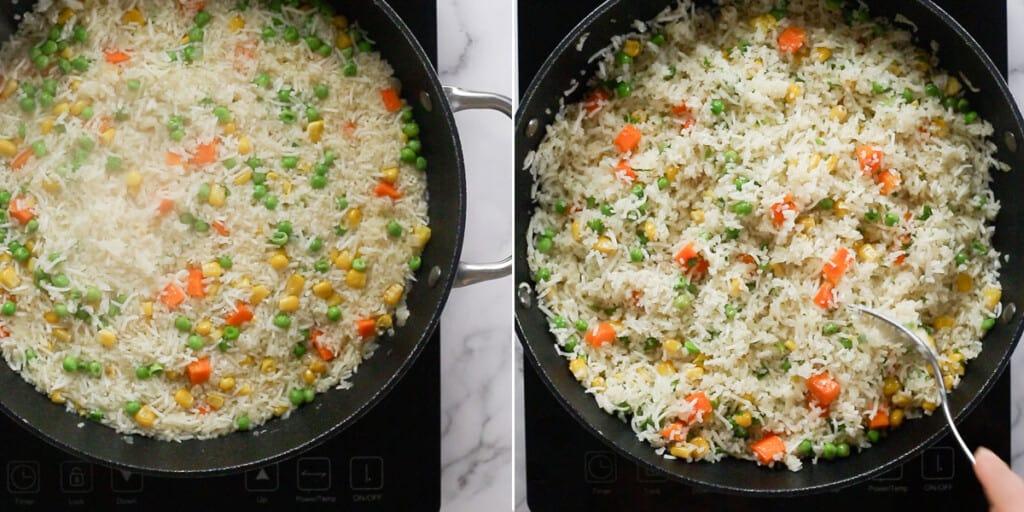 El arroz en los últimos minutos de cocción.