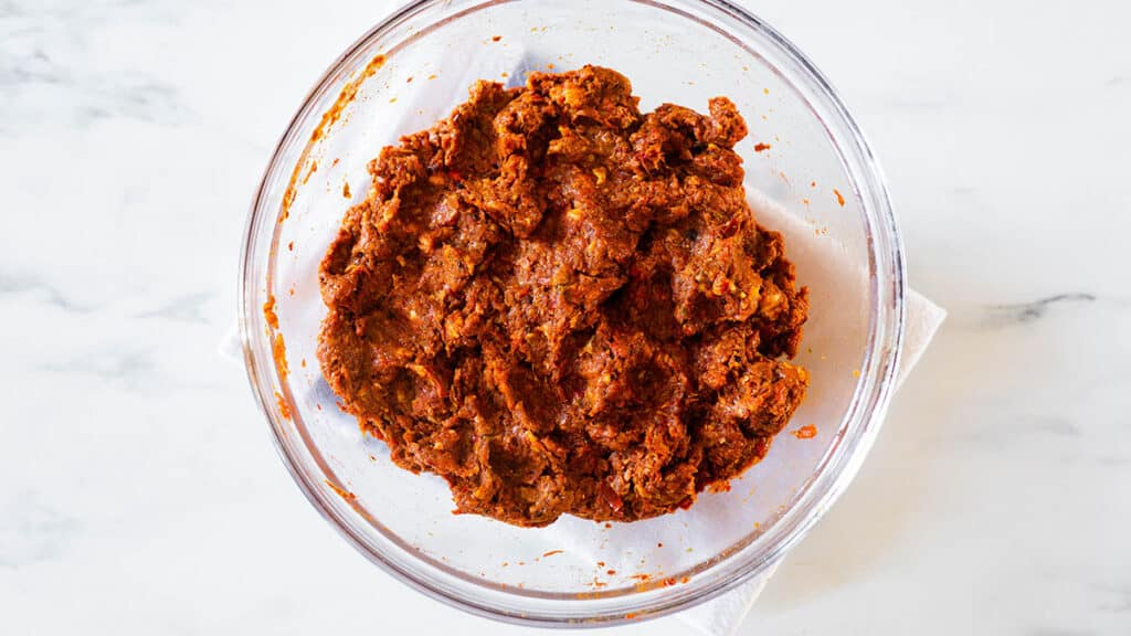 Chorizo mixture on a bowl.
