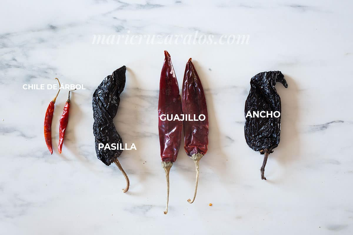 Mexican dried chilies on a marble surface.