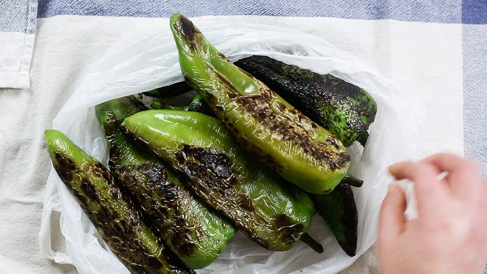 Roasted poblano peppers on a bag.