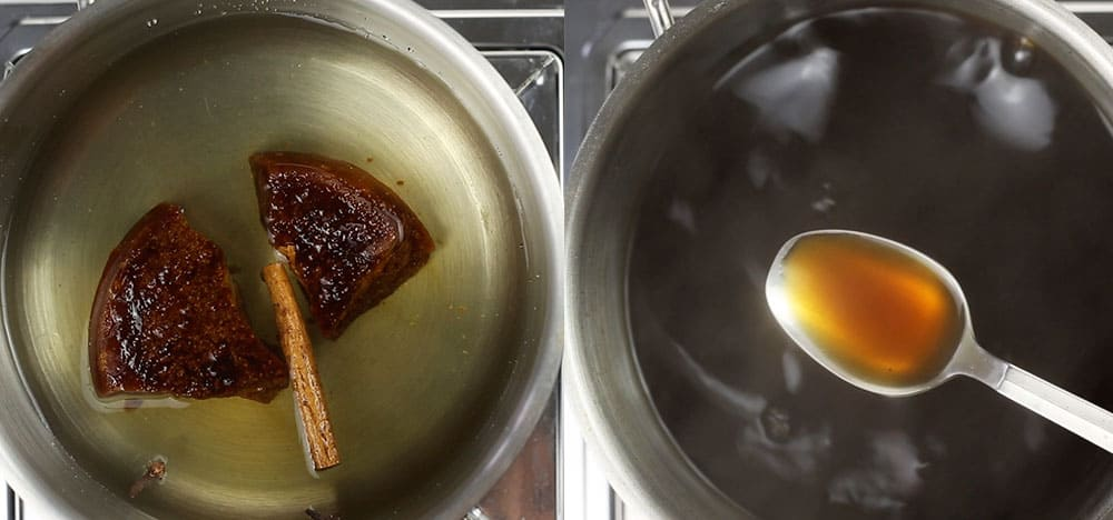 Making syrup for capirotada.