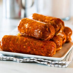 Mexican chorizo piled on a plate