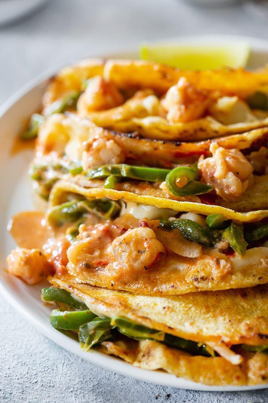 Creamy and cheesy tacos gobernador.