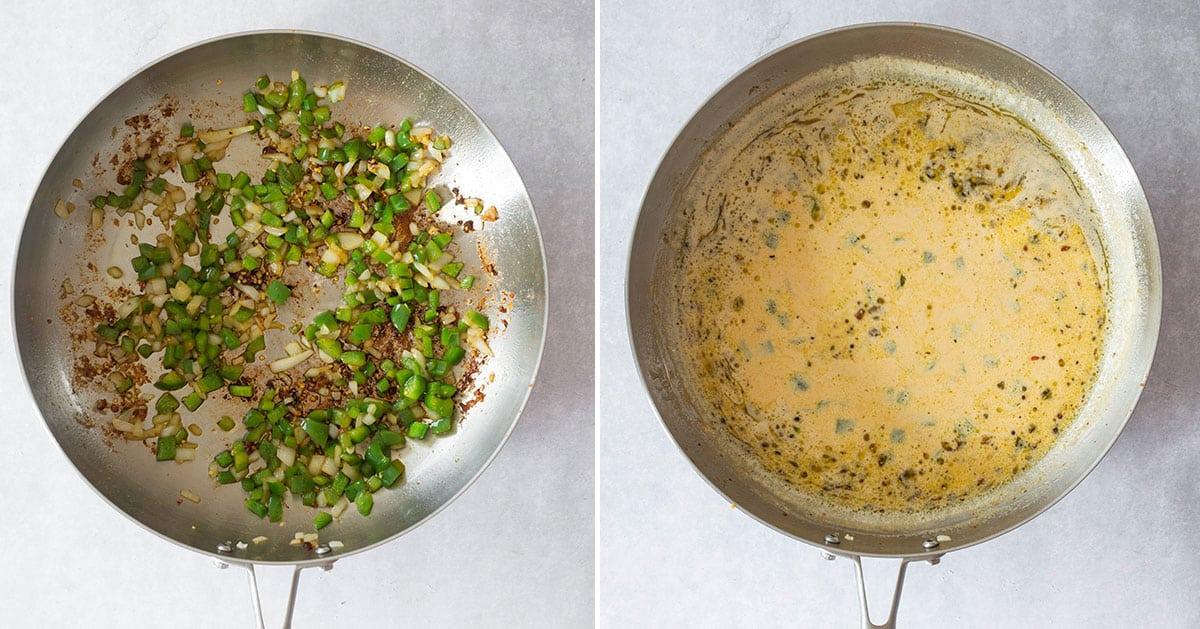 Vegetables sautéed on the pan and creamy sauce ready.