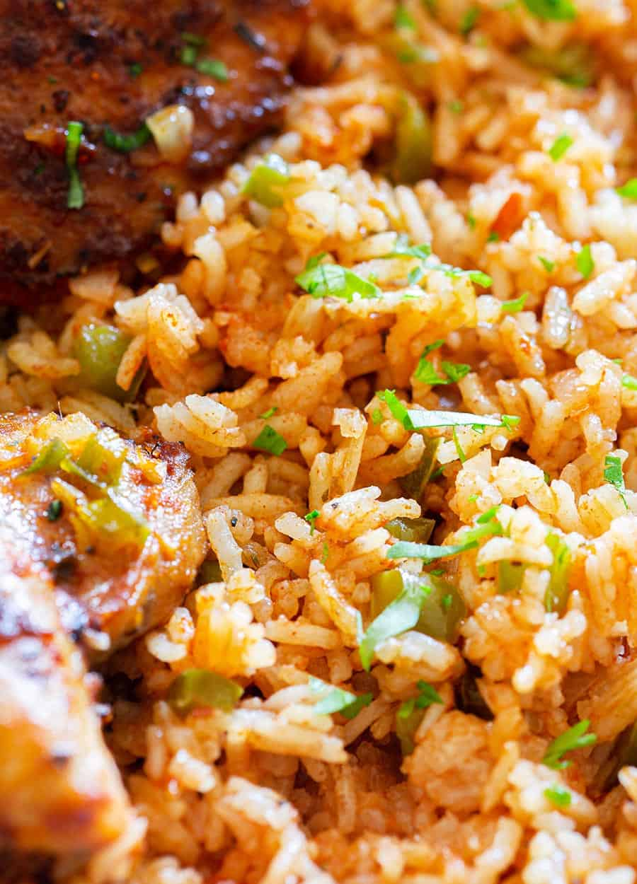 Baked Mexican red rice.