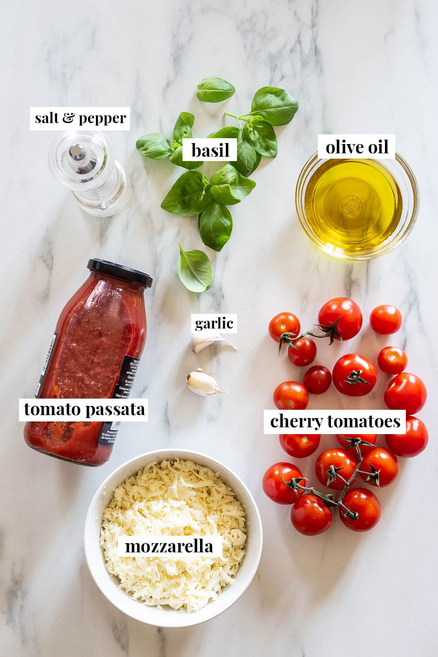 Ingredients for sauce, labeled.