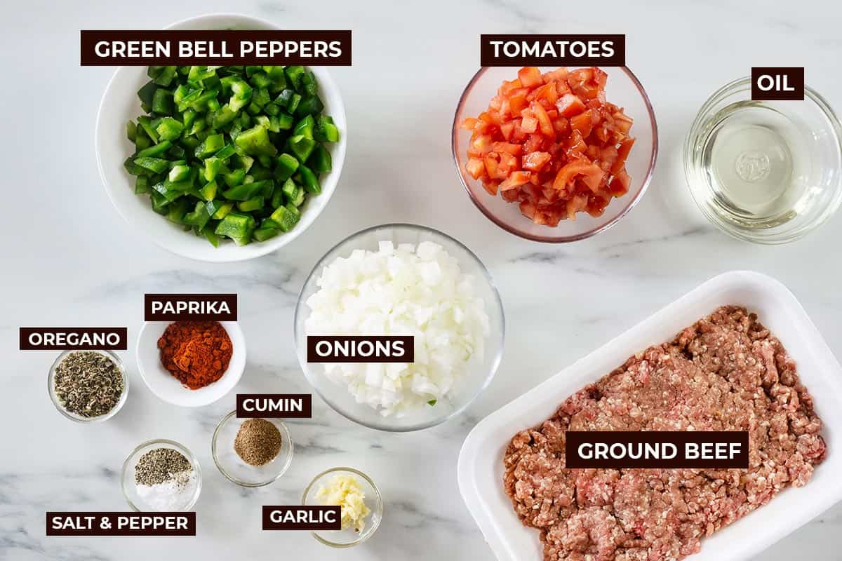 The ingredients for picadillo.