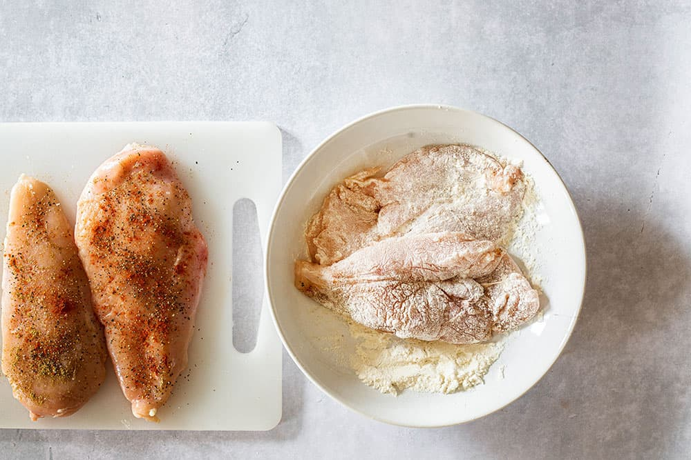 Seasoned and floured chicken.