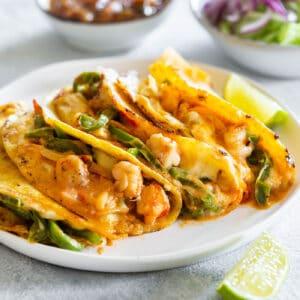 Tacos gobernador with shrimps.
