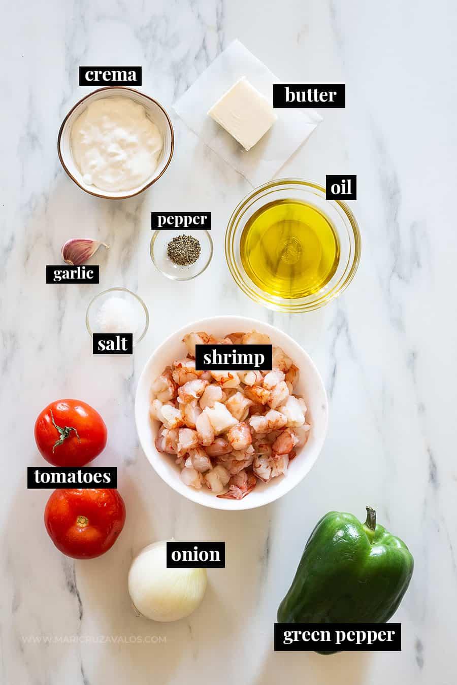 Ingredients for shrimp filling for tacos gobernador.