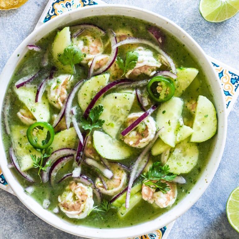 Aguachile: Mexican shrimp salad