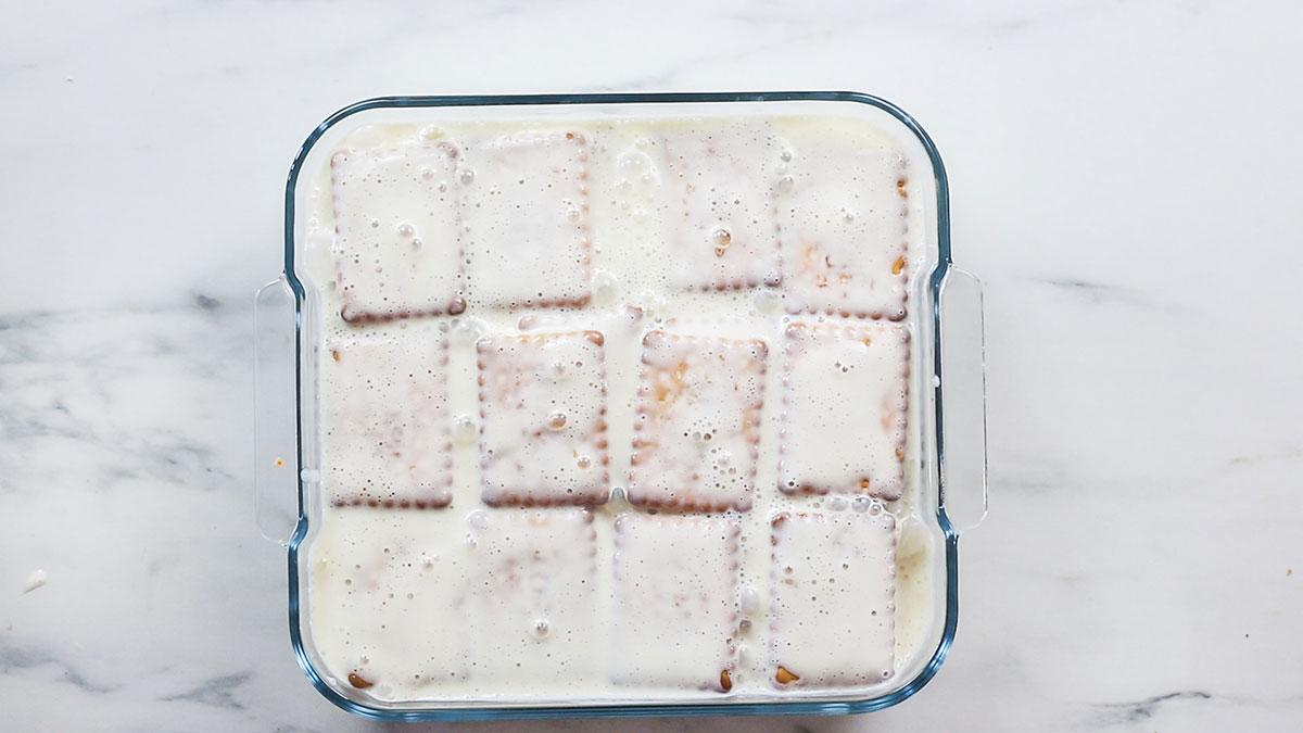The carlota cake fully assembled before resting.