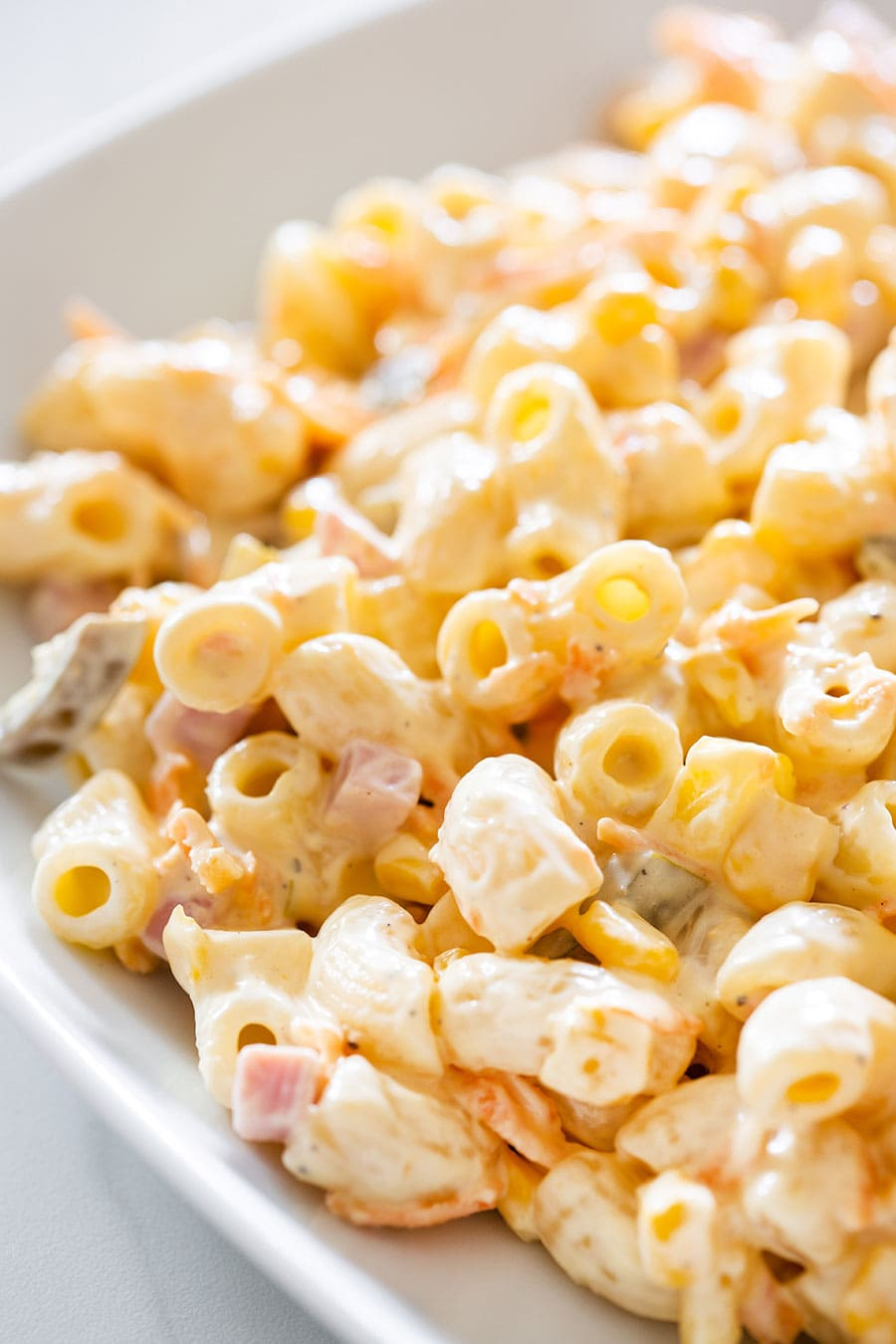 Mexican macaroni salad on a white plate.