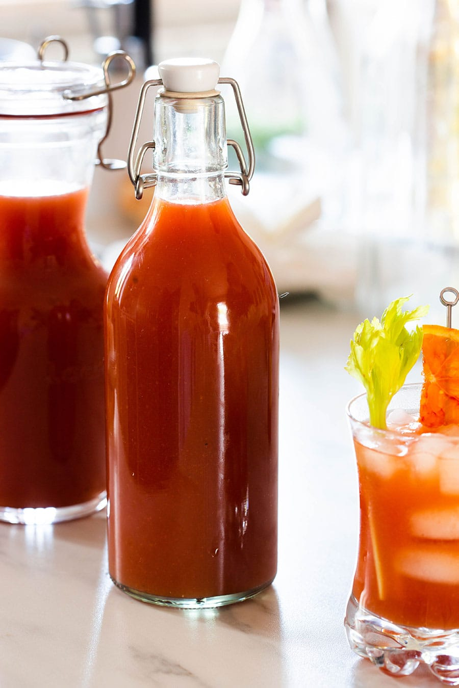Homemade tomato and clam juice.