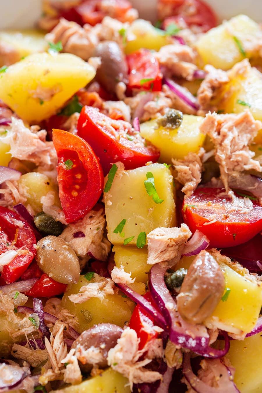 A close-up of the potato and tuna salad.