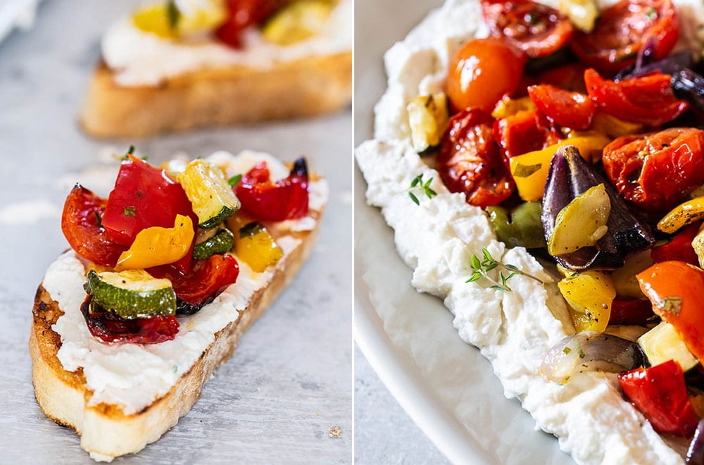 A collage with a bruschetta and a closeup of the roasted vegetables.