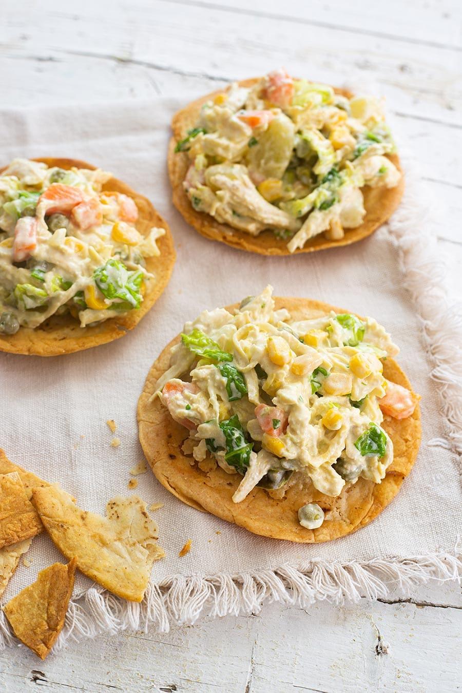 Tostadas with chicken potato salad.