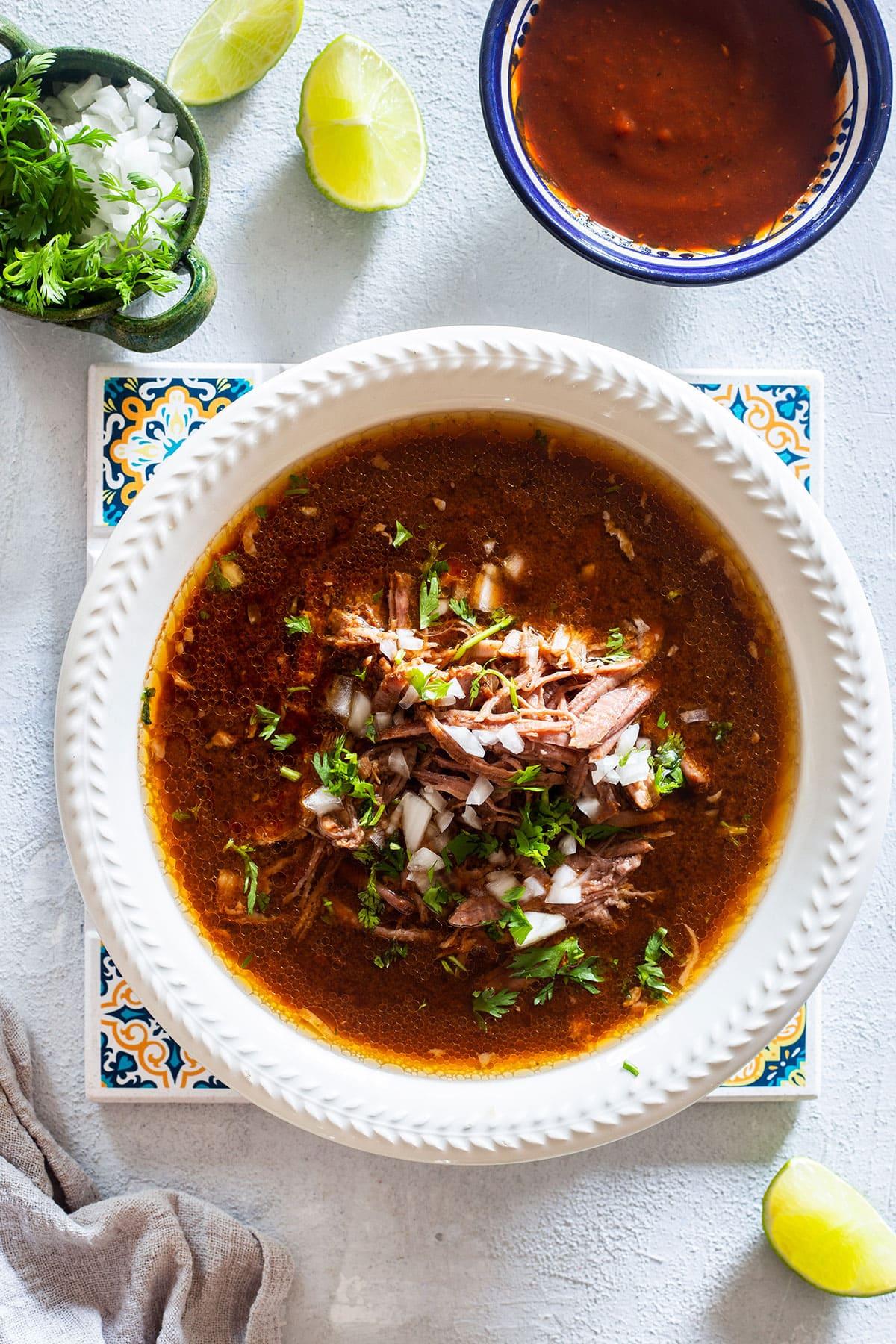 Mexican birria de res (beef birria).
