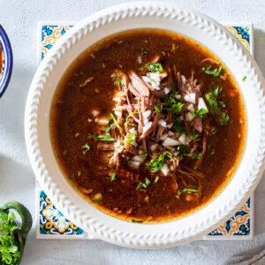 Mexican birria de res traditional recipe.