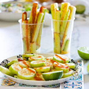 Mexican cucumbers snack (pepinos con chile).
