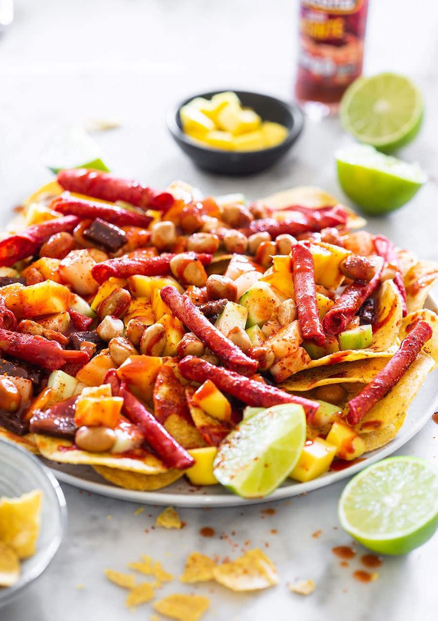 Tostilocos chips on a platter.