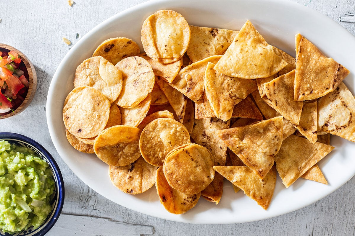 Tortilla chips a.k.a.totopos served with various salsas.