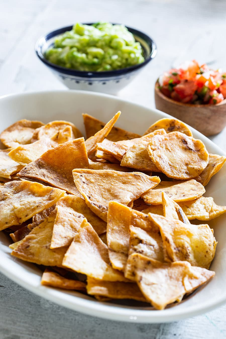 Crispy and golden tortilla chips (totopos).