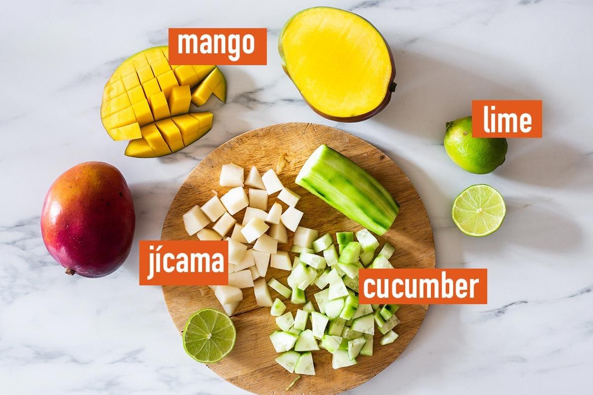 Fruit to make tostilocos labeled.