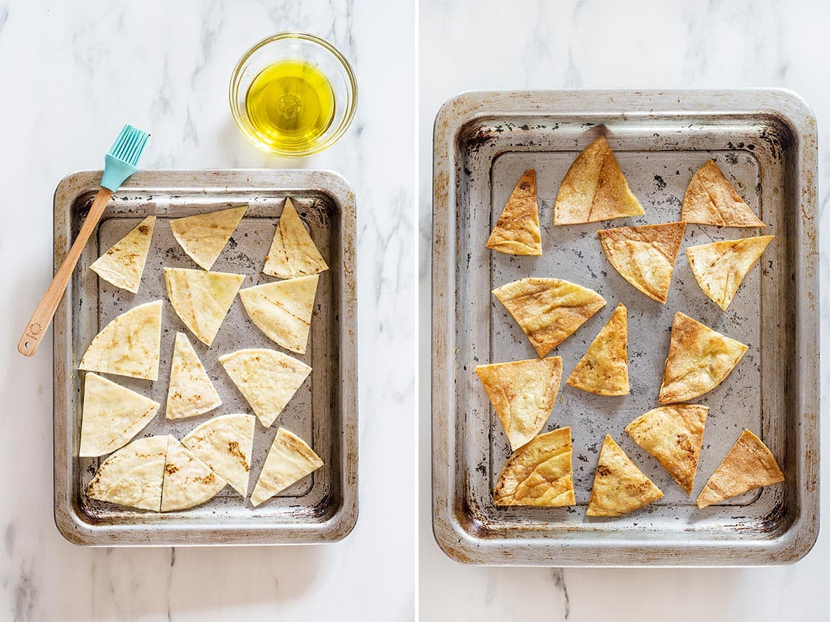 A collage with two photos showing oven baked tortilla chips.