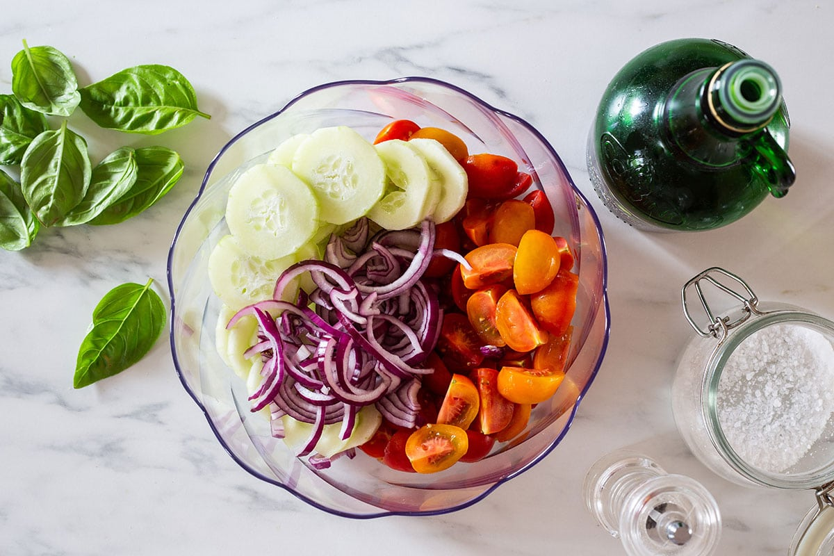 Panzanella vegetables placed on a bowl.