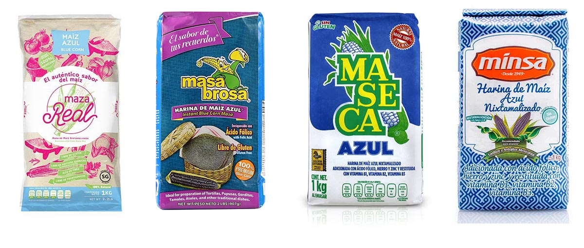 Various bags from different brands of blue masa harina.