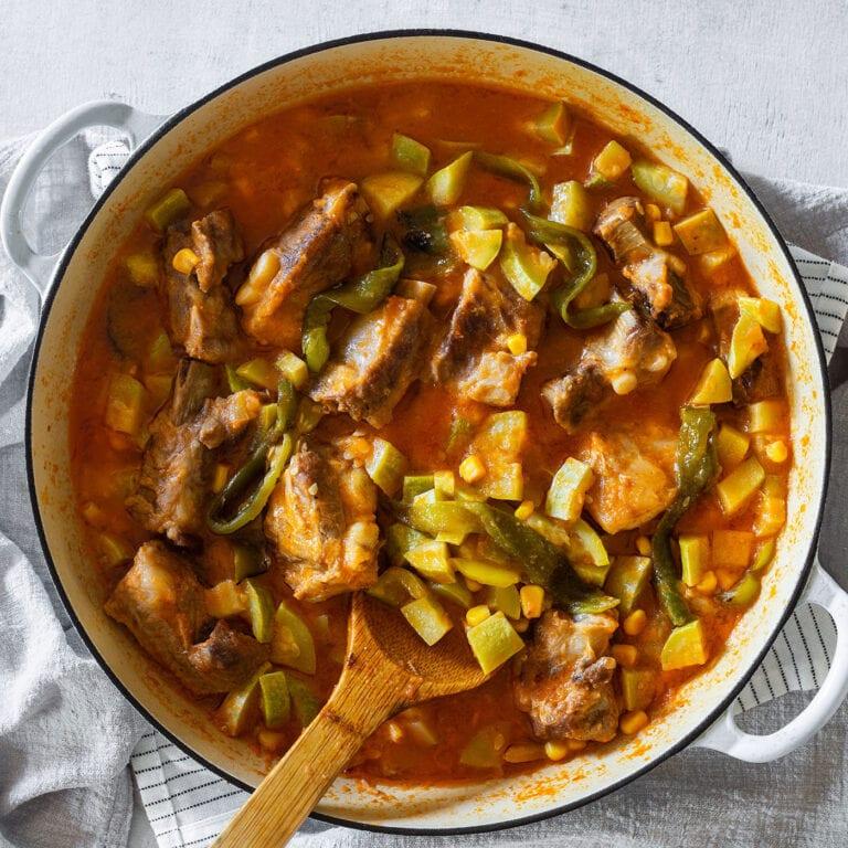 Calabacitas Con Puerco (Mexican squash with pork)