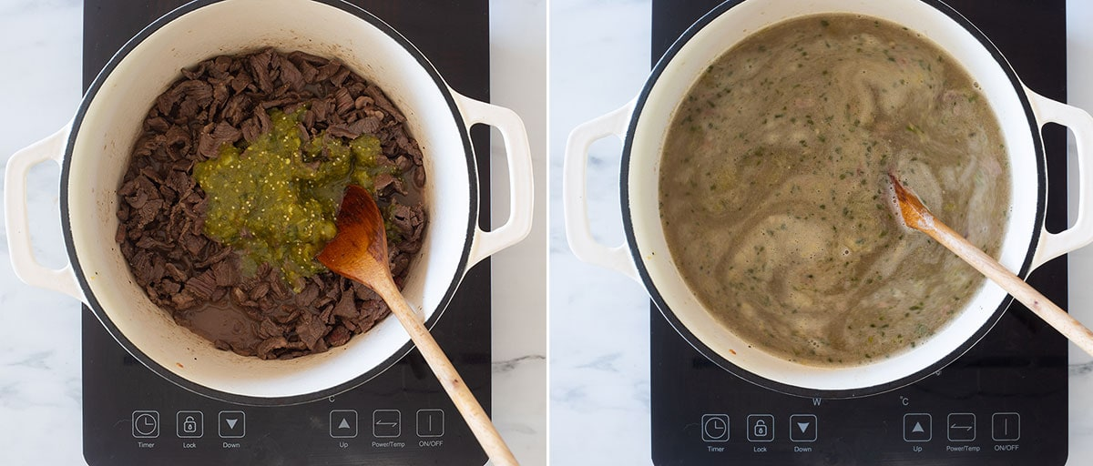 A collage with two photos of the cooking process.